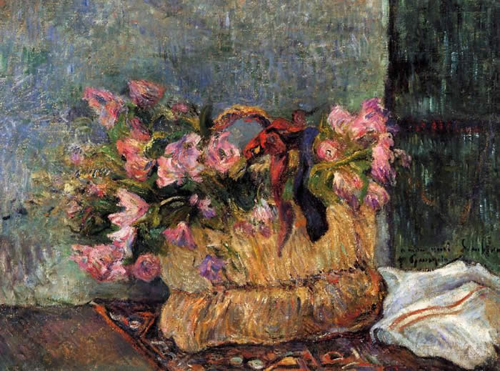 Basket of Flowers Paul Gauguin