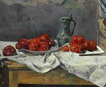 Tomatoes and a pewter tankard on a table. Paul Gauguin