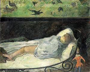 Etude Aline - The little one is dreaming. Paul Gauguin