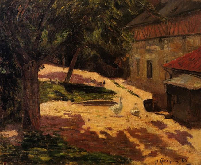 Hens in a farmyard. (orange roofed henhouse and trees). Paul Gauguin
