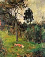 Young woman lying in the grass. Paul Gauguin 1884.