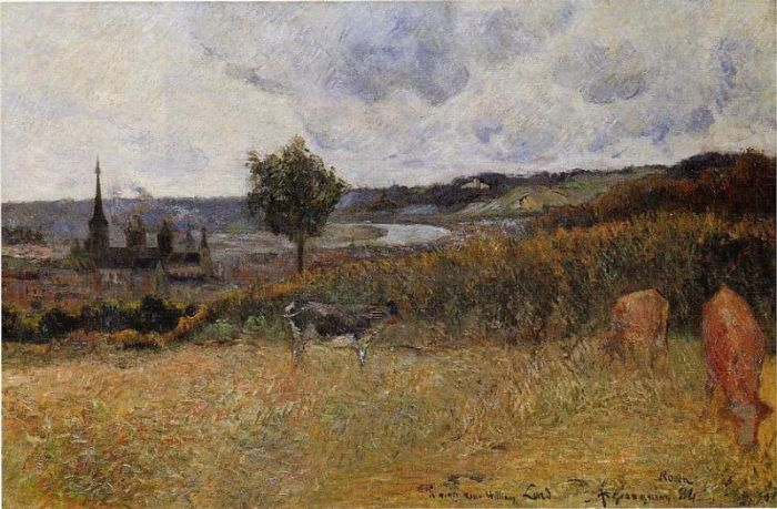 Cows in a field near Rouen. Paul Gauguin